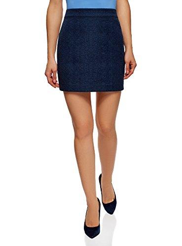 oodji Ultra Femme Jupe Courte Coupe Droite, Bleu, 38cm / FR 44 / XL