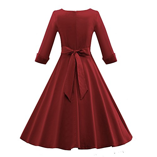 LUOUSE Women's 3/4 Sleeves Swing Rockabilly Vintage Style Dress W703-WineRed