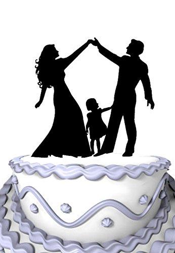 Braut-silhouette (meijiafei Acryl Hochzeit Tortenaufsatz Silhouette Braut und Bräutigam und Little Girl Familie Party Dekoration)