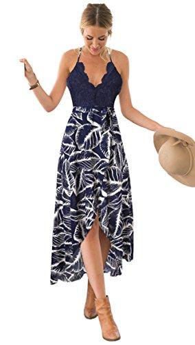 Blooming Jelly Frauen Halter Plunge V-Ausschnitt Lace Asymmetrische Floral Maxi Kleider für Damen Sommer S, blau - Plunge Halter Kleid