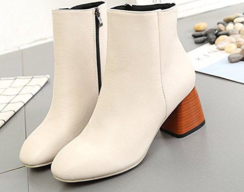 97c3708cff0 ... Low Beige Talon Carré Classique Aisun Boots Bottines Femme vw0xqRa ...