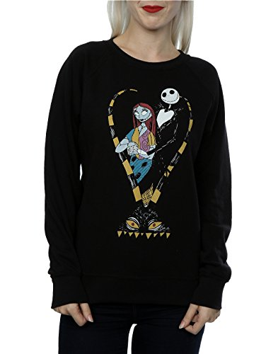 Disney Femme Nightmare Before Christmas Jack and Sally Love Sweat-Shirt Noir