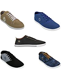 Globalite Men's Casual Shoes/Stylish Canvas Sneakers (Combo Offer - 5 Pair Shoes)