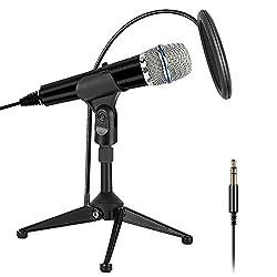 XIAOKOA PC Mikrofon 3,5 mm Mikrofon und USB Mike,Handy Mikrofon und Desktop Sprachmikrofone,für YouTube/Skype/Online-Chatten/Spielen/Aufnehmen/Podcasting