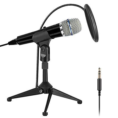 XIAOKOA PC Mikrofon,3,5 mm und USB Mikrofon,Handy Mikrofon und Desktop Sprachmikrofone,für YouTube/Skype/Online-Chatten/Spielen/Aufnehmen/Podcasting 3,5-mm-pc