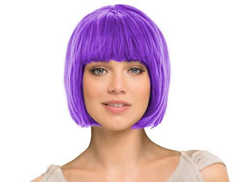 Kurzhaar Fasching Perücke glatt als Bob Haarschnitt alle Farben, Farbe wählen:kurz lila (Cheshire Cat Perücke)