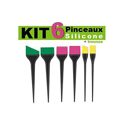 Mezzo - 6 Pinceaux Silicone Couleurs+ Trousse Zip Transparent
