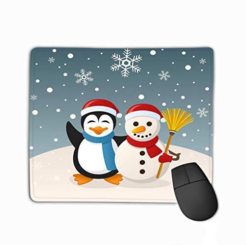 Mouse pad christmas snowman penguin cartoon scene cute holding broom funny greeting snowy scene eps file available steelserieskeyboard Penguin Gel