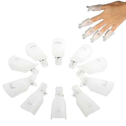Koly 10PC plastique DIY Nail Art Soak Off Cap clip UV Gel Polish Remover Wrap Outil (Blanc)