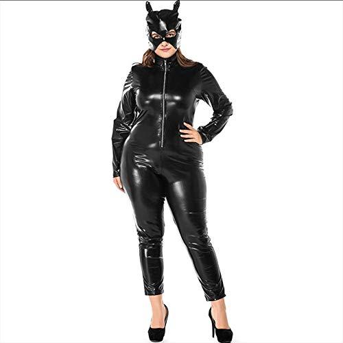 Katze Tanz Kostüm Siamesische - LNNII - Frauen Großen Overall Maskerade Lackleder Spiel Uniform Anzug Katze Mädchen Nachtclub Tanz Lederanzug Größe Motorrad Kostüm,Black,XXL