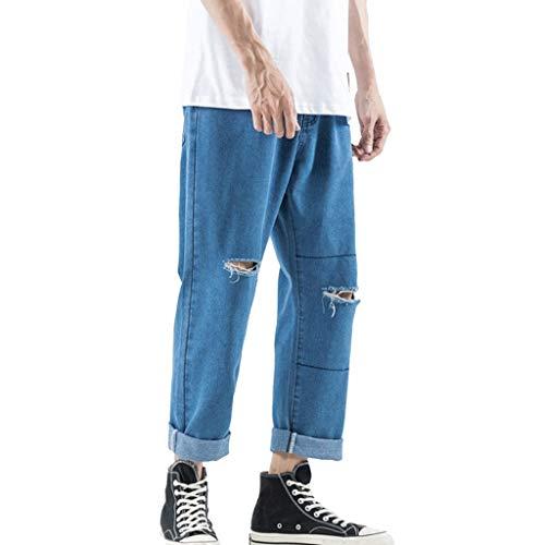 Jeans Hose hohe Taille für Lange Hose Herrenmode Denim Baumwolle Straight Hole Hose Distressed Jeans blau3 30 - Classic Distressed Jeans