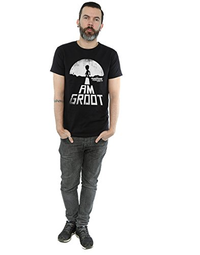 Marvel Herren Guardians of the Galaxy I Am Groot White T-Shirt Schwarz