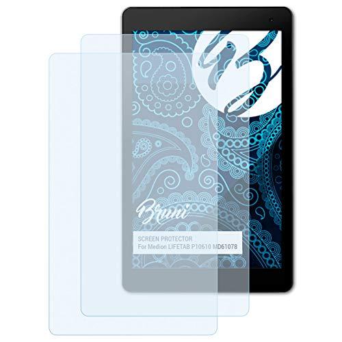 Bruni Schutzfolie für Medion LIFETAB P10610 MD61078 Folie, glasklare Displayschutzfolie (2X)