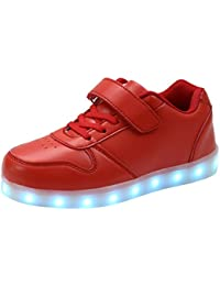 AFFINEST Kids Unisex Niños USB Carga LED Luz Luminosas Flash Zapatos Zapatillas de Deporte Sneaker