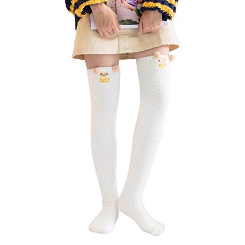1 Paar Overknees Socken FORH Damen Mädchen Cute Cartoon muster über Knie lange Oberschenkel Kniestrümpfe warme Leggings Strümpfe (E) (Knie-gestreifte Die Über Socken)