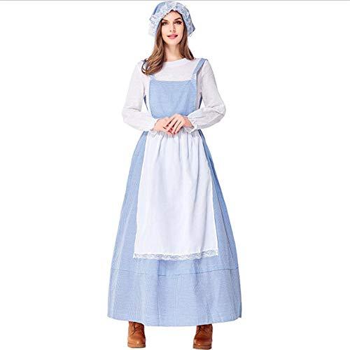 Maid Kostüm Adult Gothic - PAOFU-Adult Maid Kleid Phantasie Kostüm,Blaue Schönheit Belle Kostüm Halloween Cosplay Motto Party Fasching Karneval Party Outfit,Blau,L
