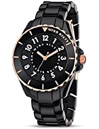 Miss Sixty Glitter SHU004 - Reloj para mujeres, correa de resina color negro