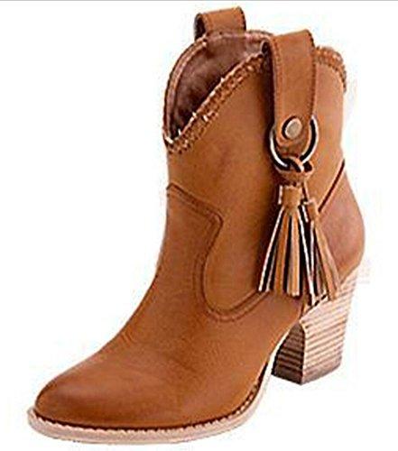 CYGG-Ladies-High-Heels-Botas-con-flecos-Amarillo-de-gran-tamao-40-46