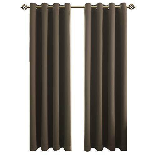 FLOWEROOM Blickdichte Gardinen Verdunkelungsvorhang - Lichtundurchlässige Vorhang mit Ösen für Schlafzimmer Geräuschreduzierung Taupe 245x140cm(HxB), 2er Set