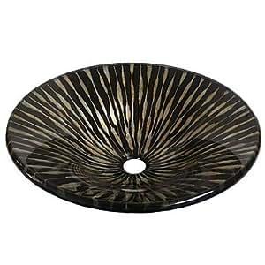 DiDi schwarz Form Hut aus gehärtetem Glas, mit Pop-Up-Drain und Mounting Ring
