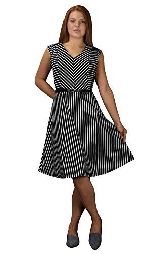 Peach Couture Damen Elegant Diagonale Gestreift Fashion Cocktail Midi Kleid Weiß Schwarz A-Linie X-Large -