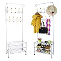 Greenfields 2 in 1 Contemporary Metal Multi-Purpose Coat Clothes Hat Shoe Rack Tidy Organiser Umbrella Stand