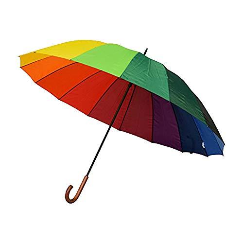 Regenschirm lang Damen XXL für Zwei Personen - Regenbogen - Happy Rain Regenschirm, lang, Durchmesser 130 cm, sehr robust, 16 Streben, Mehrfarbig