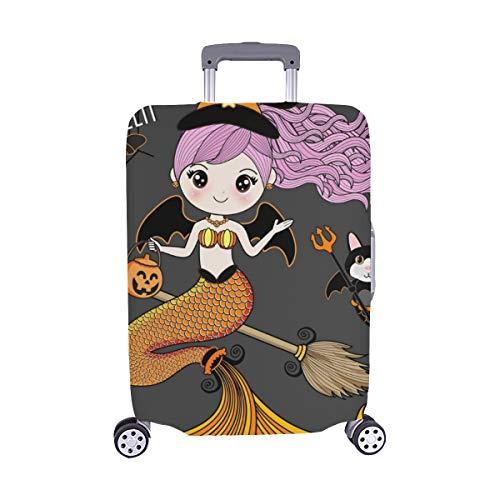 (Nur abdecken) Meerjungfrau, die Halloween-Kostüm Spandex-Staubschutz Trolley Protector case Reise-Gepäck-Schutz-Koffer-Abdeckung 28,5 x 20,5 Zoll trägt