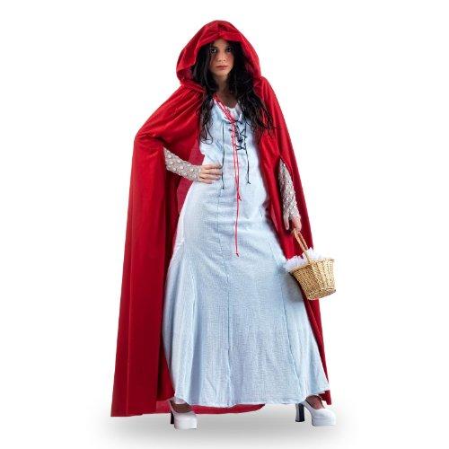 Langes Kleid mit weitem Umhang und Kapuze, kombinierbar, Märchen Gewand, Vamp Look - (Kleid Rotes Renaissance)