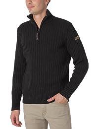 Schott Nyc Plrage2 - Sweat-shirt - Uni - Col à fermeture éclair - Manches longues - Homme