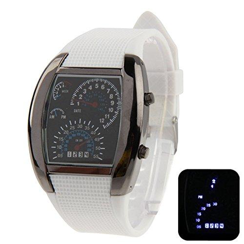 Your only brother Bequemlichkeit Blu-ray LED-Uhr mit schwarzem Silikonarmband, sowohl für Männer als auch für Frauen Gute Qualität (Farbe : Weiß)
