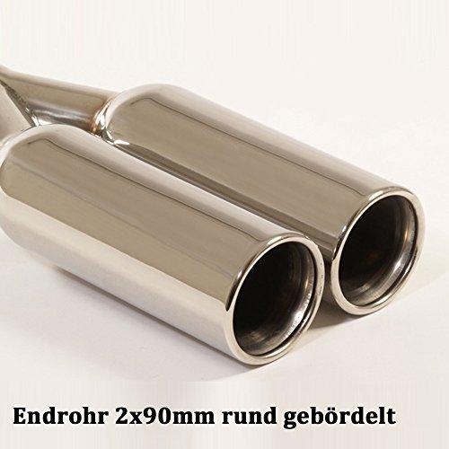 Friedrich Motorsport Duplex Auspuff Sportauspuff Endschalldämpfer Sportendschalldämpfer ESD mit Endrohr 2x90mm rund gebördelt 861344AD-18