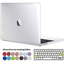 TECOOL Coque MacBook Pro 13 Pouces 2016 2017 2018 2019, Plastique Rigide Matt Étui + Clavier Coque de Protection pour MacBook Pro 13 avec/sans Touch Bar Modèle: A2159 A1706 A1708 A1989 -Crystal Clair