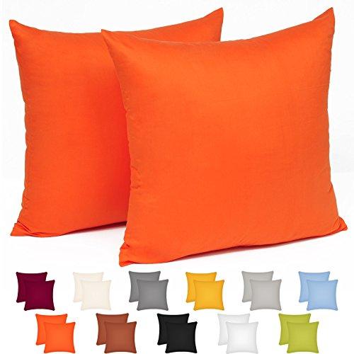 WOLTU® KB5152orQ2 , 2x Kissenbezug Kissenhülle 100% Baumwolle mit Reissverschluss , 2er Set Sofakissen Dekokissen Kissen Bezug , Kopfkissen Hülle Bezüge Doppelpack , 45x45 cm , Orange