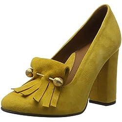 SELECTED FEMME Damen Sfmel Suede Pump W. Fringes Plateaupumps, Gelb (Mineral Yellow), 39 EU