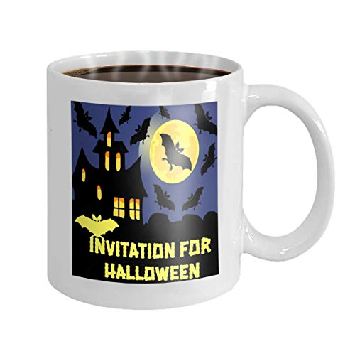 itation halloween party card mix bats castle moon dark background Dreamy Novelty Ceramic Gifts Tea Cup ()