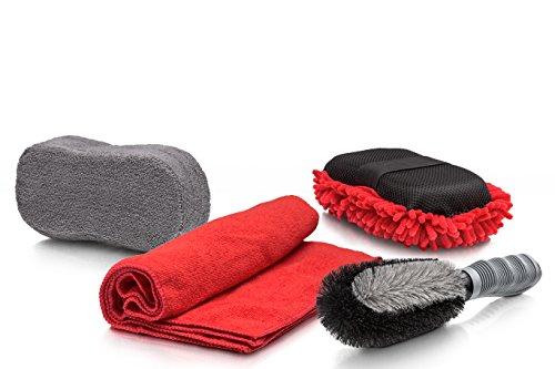 Profesional 4Auto Cuidado–En práctica funda–Cepillo para llantas, Llanta Esponja, espuma Esponja y gamuza de microfibra para de interior y exterior de limpieza