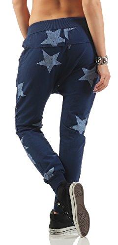 ZARMEXX Pantaloni Boyfriend pantaloni da jogging Pantaloni Fit Fitness allentato Big Star One Size 83988-blu