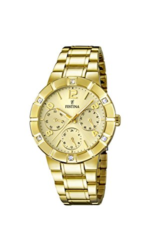 Festina Women's Quartz Watch with Gold Dial Analogue Display and Gold Stainless Steel Plated Bracelet F16708/2