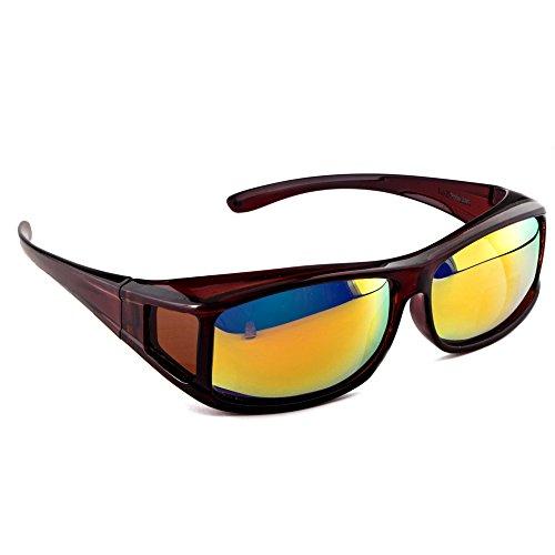 Active SOL Überzieh-Sonnenbrille für Herren | Sonnen-Überbrille UV400 | polarisiert | Fit-Over Polbrille für Brillenträger (braun glänzend)