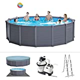 Intex Graphite Gray Panel Pool Set - Panel Wand Aufstellpool - Sehr luxuriös und robust - Ø 478 x...