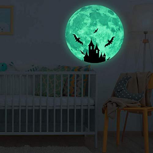 Wandtattoo Halloween Leuchtaufkleber Mond Leuchtsticker Fluoreszierende Aufkleber 30x30cm Wanddeko Wandaufkleber 3D Wandsticker Wand Dekoration Wohnzimmer Hausdekoration Wandgemälde Rovinci