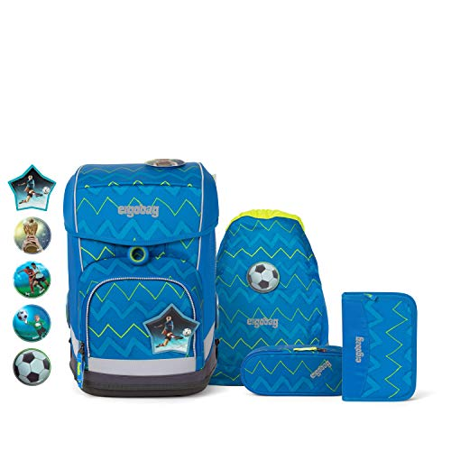Ergobag cubo Light LiBäro 2:0, ergonomischer Schulrucksack, extra leicht, Set 6-teilig, 19 Liter, 780 g, Zickzack Blau Grün