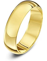 Theia Unisex Super Heavy D Shape Polished 18 ct Gold Wedding Ring