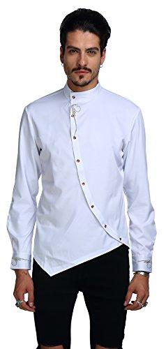 Whatlees Herren Urban Basic Lang Geschnittenes Hemd mit Asymmetrisches und aufgesticktes  Design Stehkragen B404-White-M