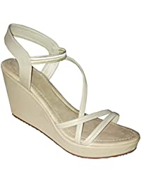 New Latest Woman ' S Cream Latest Thin Steps Wedges Heel Sandal