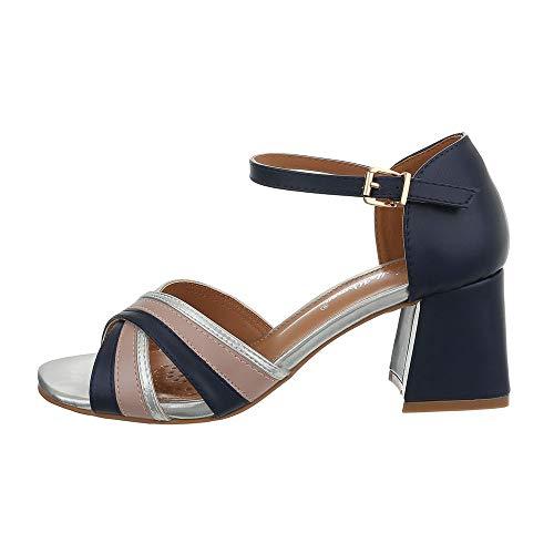 Ital-Design Damenschuhe Sandalen & Sandaletten High Heel Sandaletten Synthetik Blau Silber Gr. 40 -