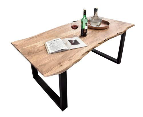SAM® Stilvoller Esszimmertisch Quentin 180x90 cm aus Akazie-Holz, Tisch mit schwarz lackierten Beinen, Baum-Tisch mit naturbelassener Optik