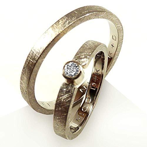 Trauring SET Weißgold und Diamant mit Gravur - handgefertigt by SILVERLOUNGE