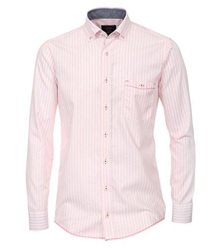 Casa Moda - Casual Fit - Streifen Herren Oxford Hemd mit Button-Down Kragen (462552000 A) Rot (400)
